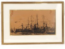 Navy Charcoal Frank Boggs harbor boats ships for nineteenth century wars
