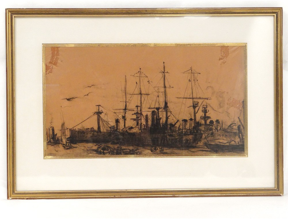 Navy Charcoal Frank Boggs harbor boats ships for nineteenth