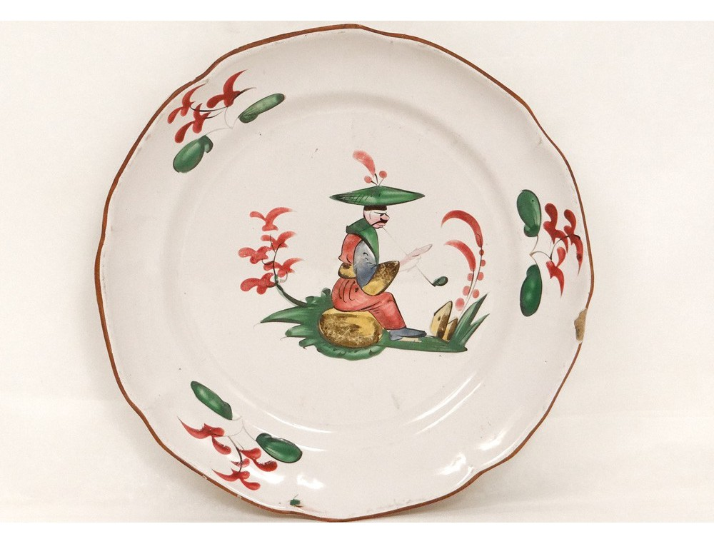 Assiette fa ence les islettes d cor chinois fumant pipe for Decoration faience