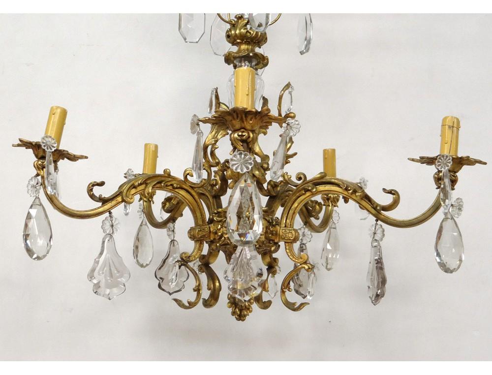 ormolu chandelier 5 lights cut crystal baccarat chandelier xixth suspension. Black Bedroom Furniture Sets. Home Design Ideas