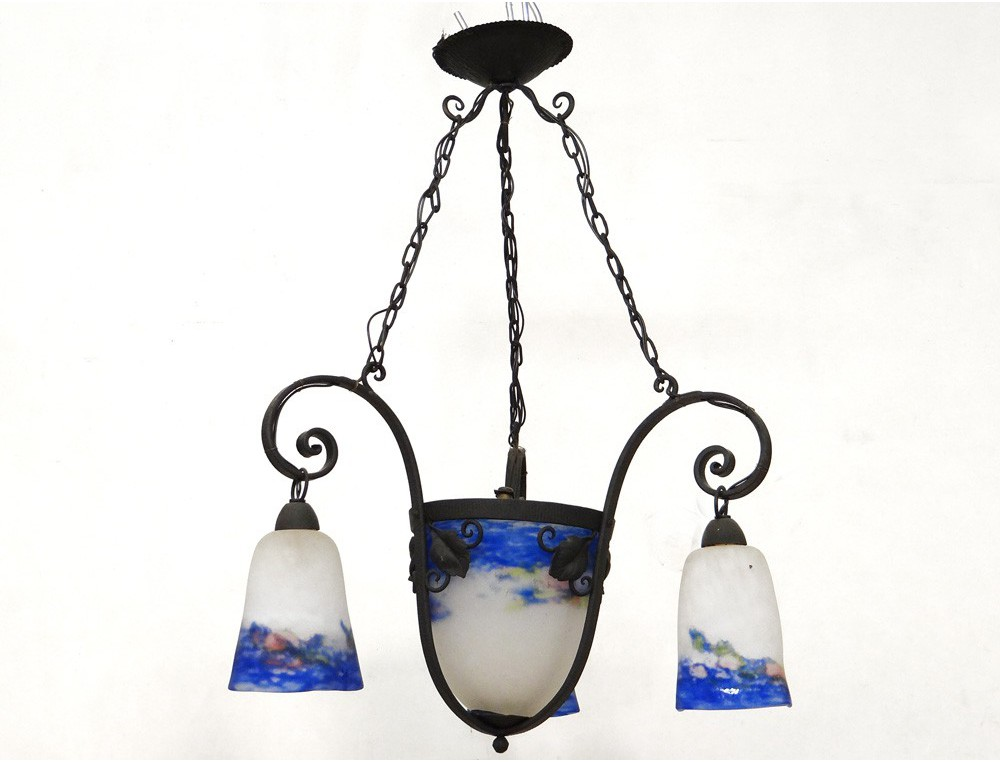 Wrought iron chandelier suspended glass paste degu landscape leaves loading zoom aloadofball Images