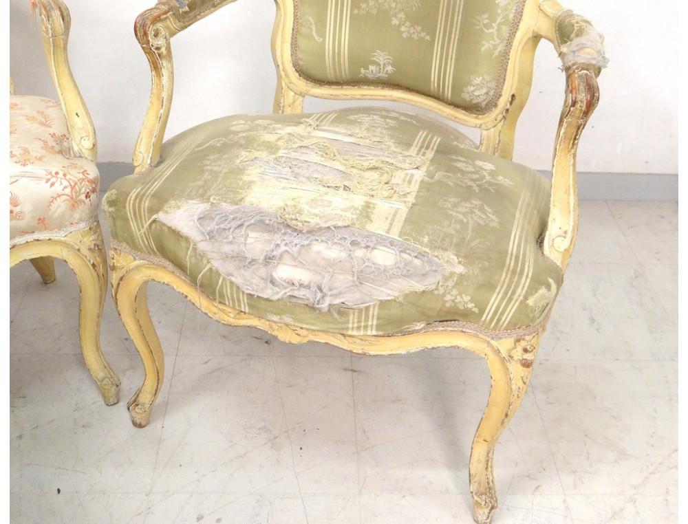 3 fauteuils cabriolet louis xv si ge sculpt estampille. Black Bedroom Furniture Sets. Home Design Ideas