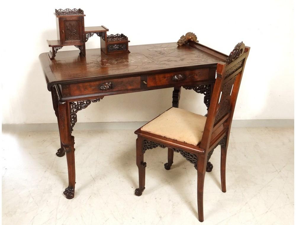 Office chair table pagoda viardot carved walnut shell for Meuble bureau laval