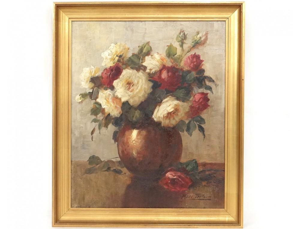 hsp table pink flowers bouquet vase kees terlouw twentieth dutch school. Black Bedroom Furniture Sets. Home Design Ideas