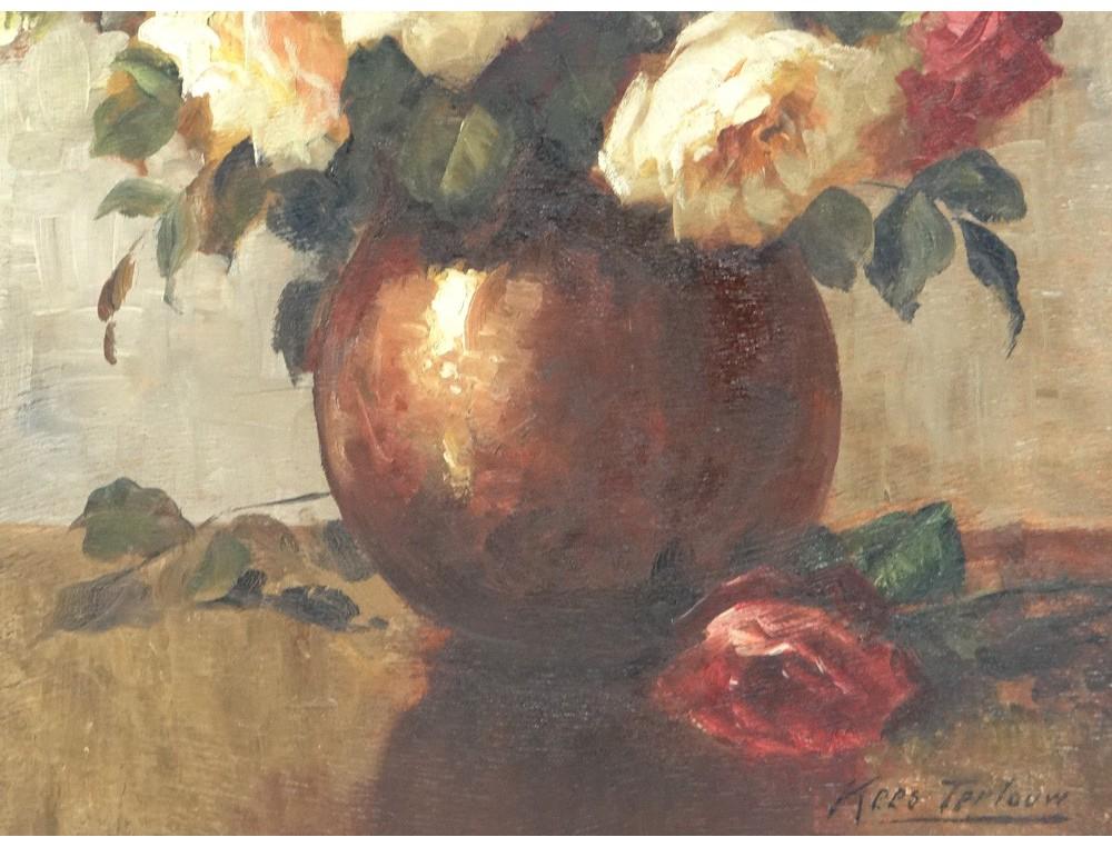 HSP tableau bouquet fleurs roses vase Kees Terlouw école hollandaise XXème