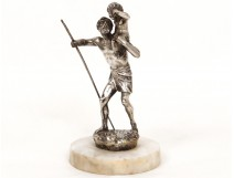 Silvered bronze sculpture Henry Fugère Saint Kitts child nineteenth marble