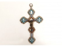 Cross micro mosaic silvered bronze Christ crucifix flowers Grand Tour nineteenth
