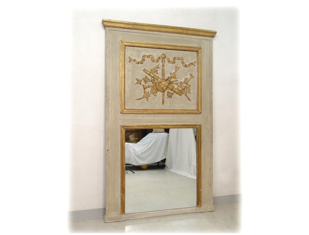 Trumeau miroir louis xvi bois peint instruments musique for Miroir trumeau blanc