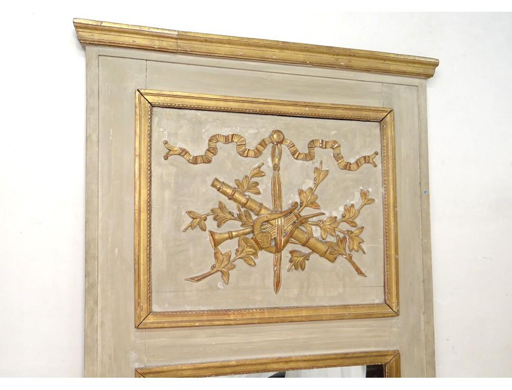 trumeau miroir louis xvi bois peint instruments musique