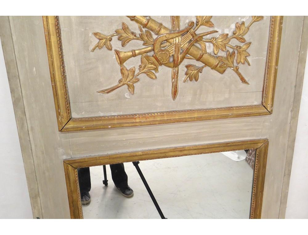 Trumeau miroir louis xvi bois peint instruments musique for Miroir louis 16