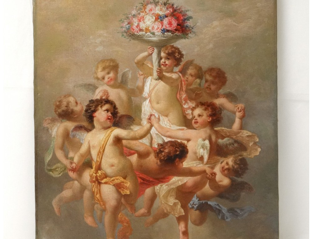 HST painting Allegory Amours cherubs putti F.Gonin flower ...