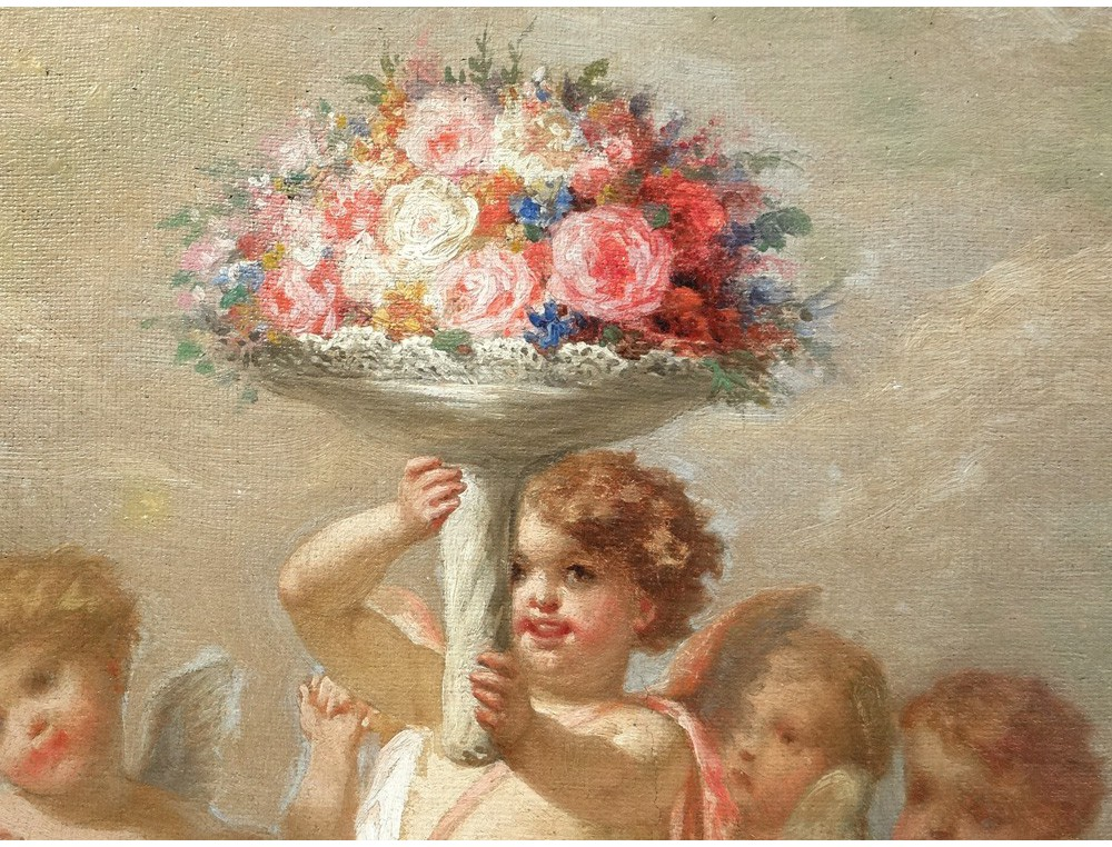 Hst Painting Allegory Amours Cherubs Putti F Gonin Flower