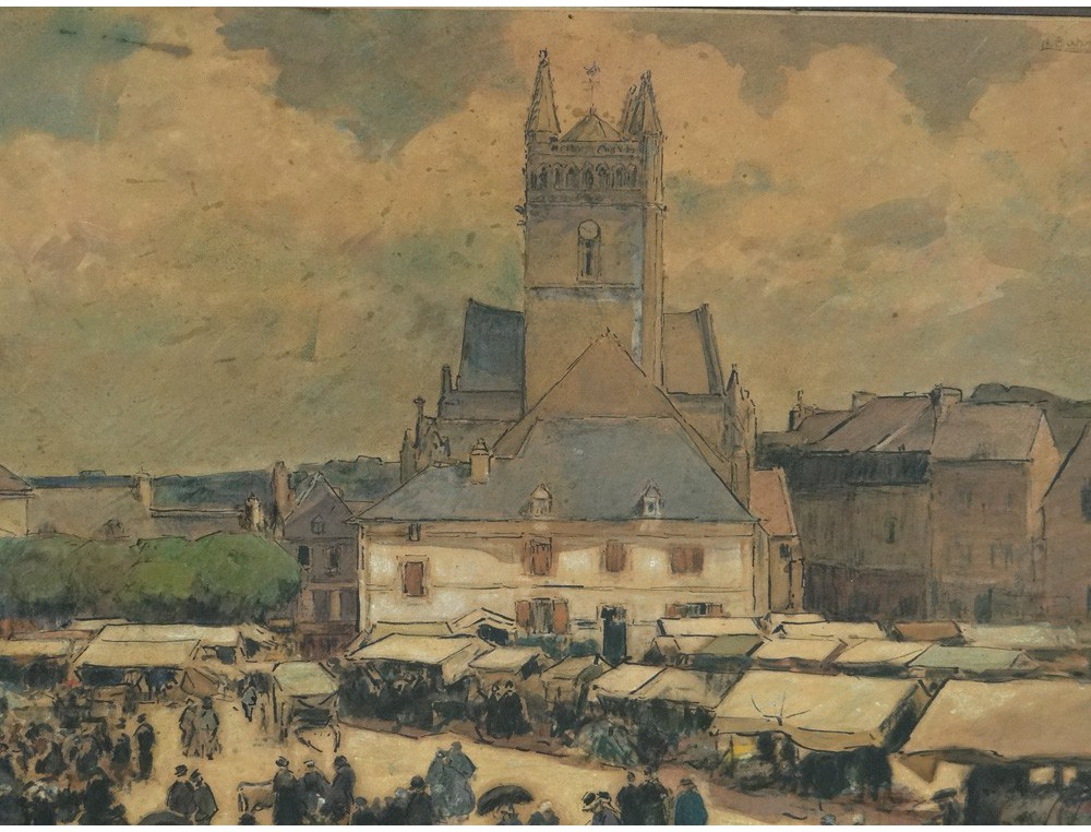 Watercolor Gouache Scene Quimperl 233 Market Barnoin Henri