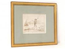 Drawing sheep shepherd wash seaside landscape boats Massard nineteenth century