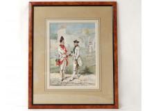 Watercolour soldiers Grenadier Regiment Beauce Ernest Fort Condé twentieth