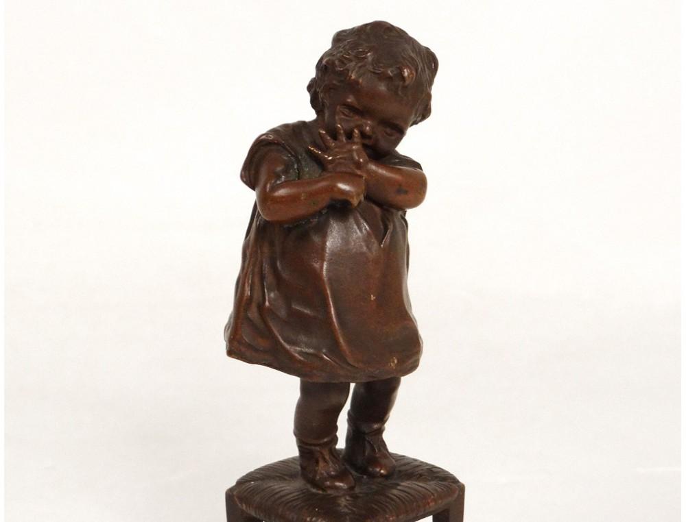 Bronze Sculpture Juan Clara Small Chair Girl Child Girl