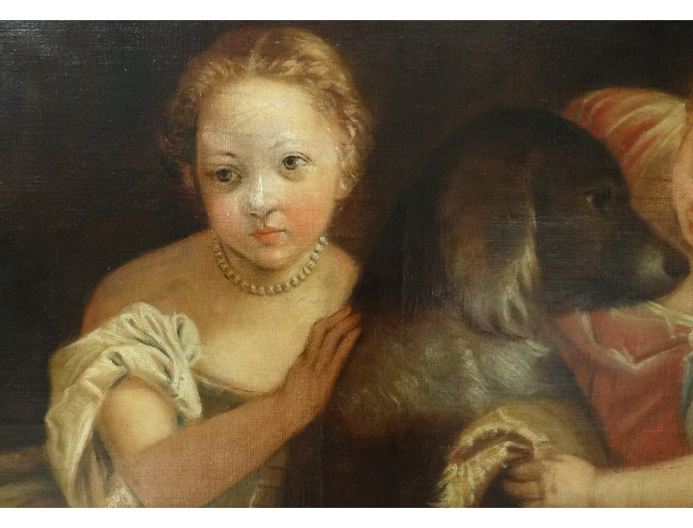 Rare Large Table Hst Small French School Girls Dog