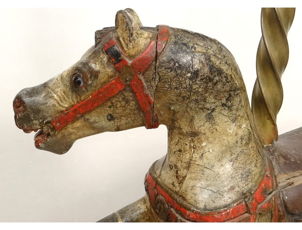 Horse polychrome carved wooden carousel jumper gustave