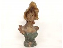 Polychrome terracotta bust sculpture Pablo Rigual young woman nineteenth flowers
