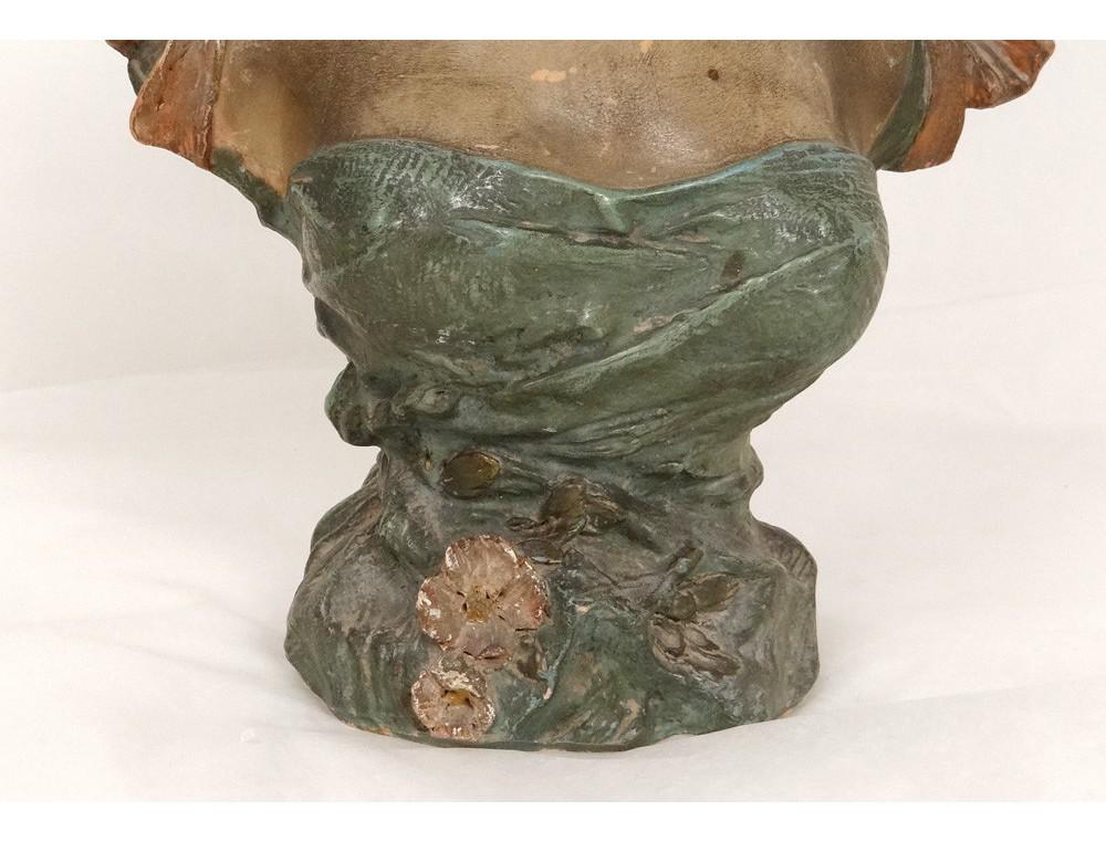 Berühmt Sculpture buste terre cuite polychrome Pablo Rigual jeune femme  JE55