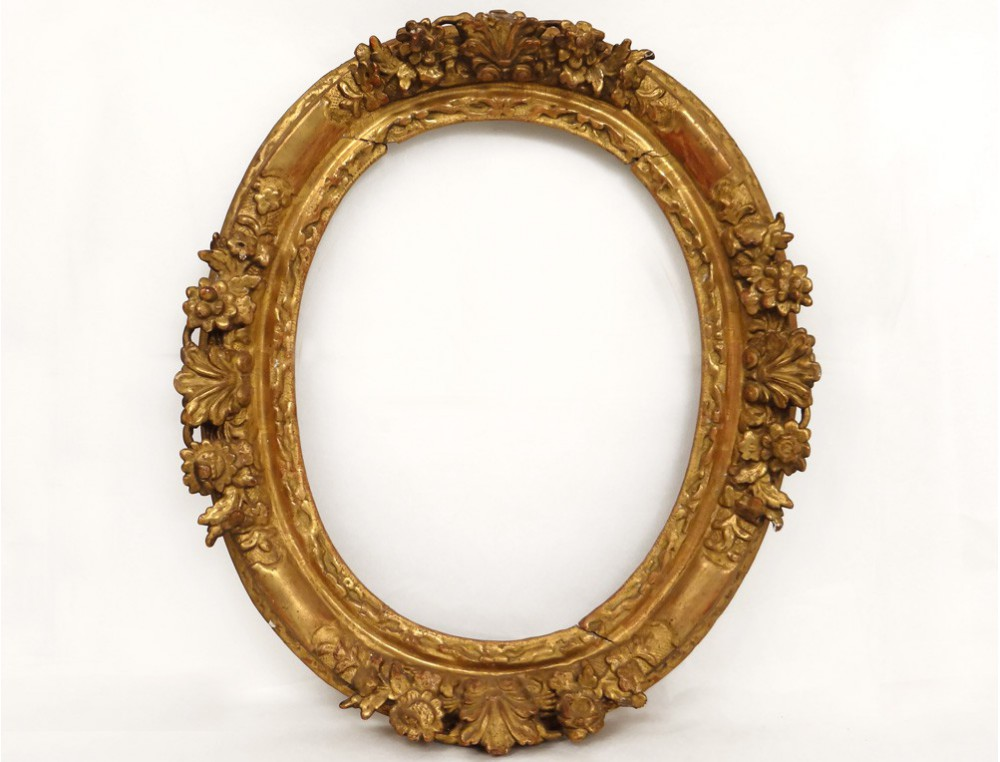 Carved Oval Frame Golden Flowers Frame French Antique
