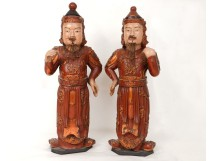 Rare pair polychrome wood sculptures Chinese dignitaries greeting nineteenth boxes