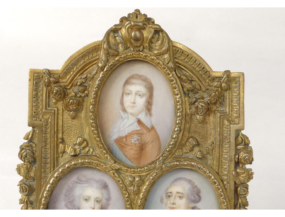 Rare Frame 3 Miniature Louis Xvi Marie Antoinette Dauphin