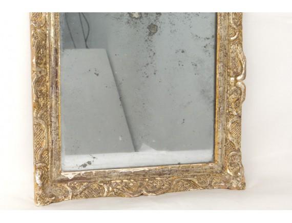 Miroir r gence glace cadre bois sculpt argent fleurs for Glace miroir sans cadre