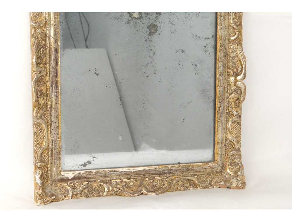 Regency Mirror Ice Carved Wooden Frame Silver Flowers