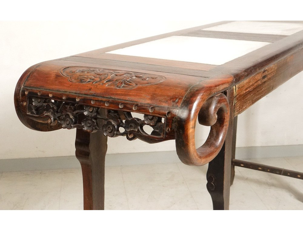 Console Table Of Exotic Wood Carved Marble Altar Chinese