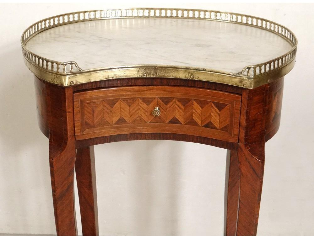 louis xvi bedside table inlaid marble kidney brass. Black Bedroom Furniture Sets. Home Design Ideas
