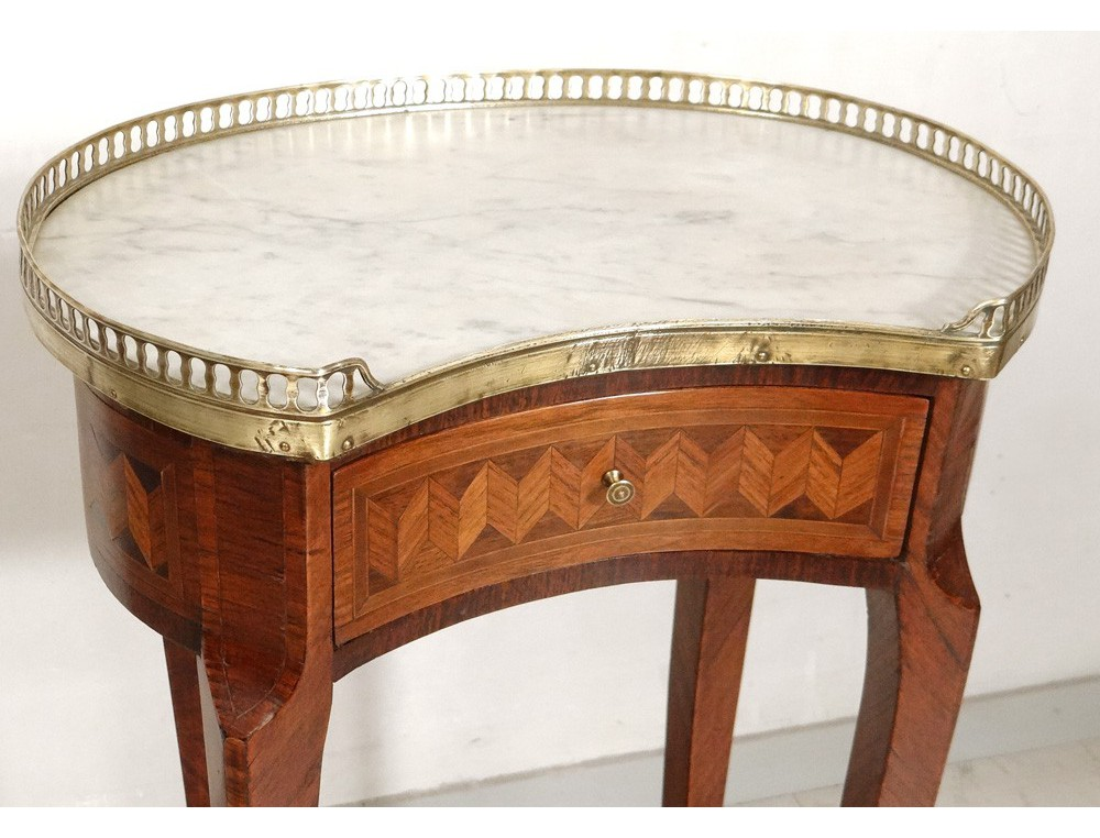 Louis Xvi Bedside Table Inlaid Marble Kidney Brass