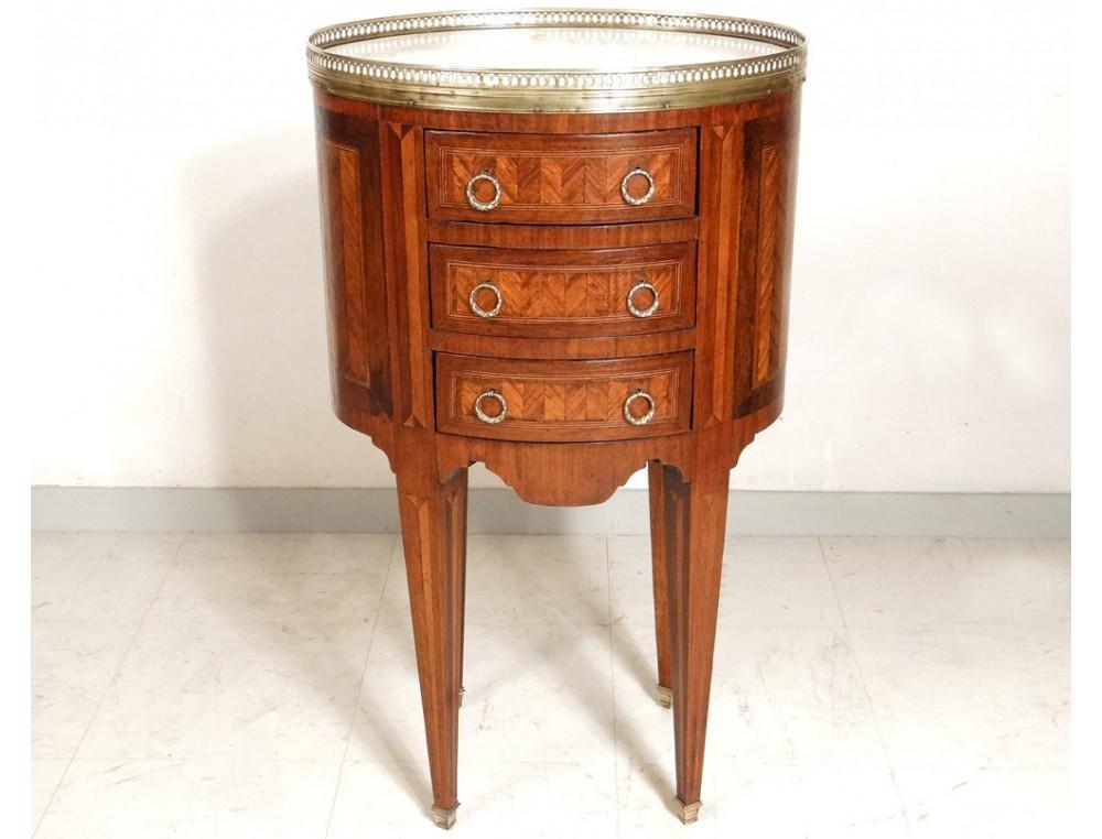 table chevet ovale louis xvi marqueterie marbre laiton napolon iii xixme with table de chevet marbre. Black Bedroom Furniture Sets. Home Design Ideas