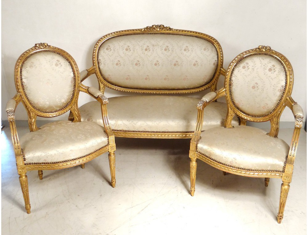 Salon Louis Xvi Giltwood Armchairs Sofa Flowers Nineteenth Century Napoleon Iii