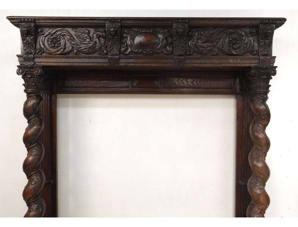 Decorative trim element dragons carved fireplace Decorative hearth