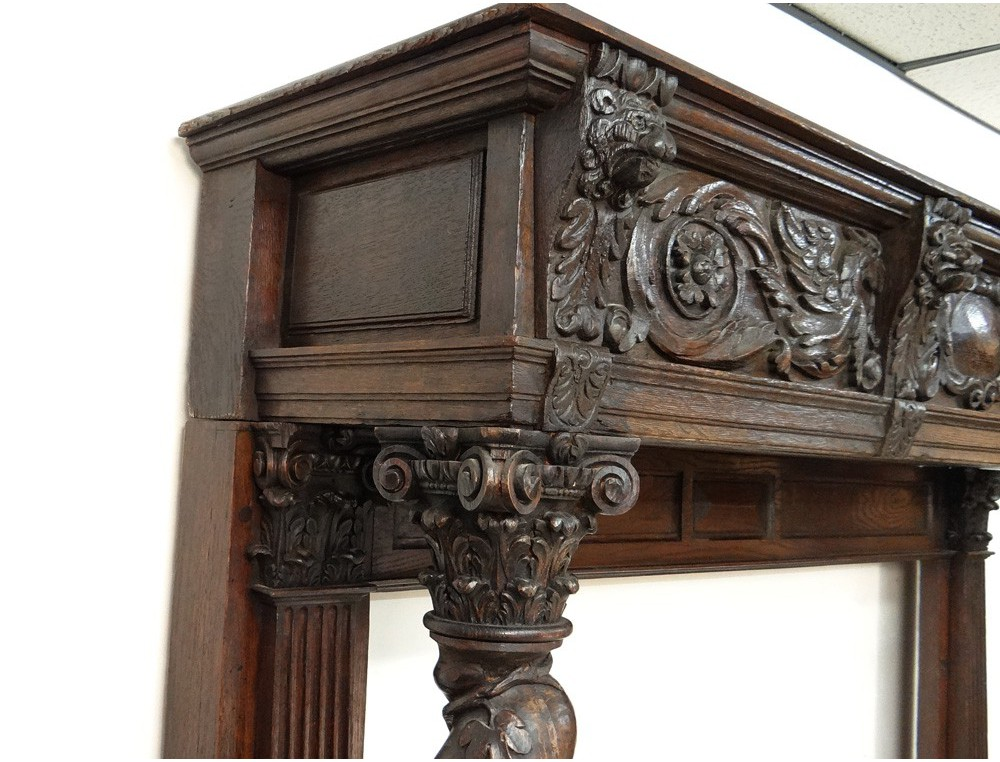 Decorative Trim Element Dragons Carved Fireplace