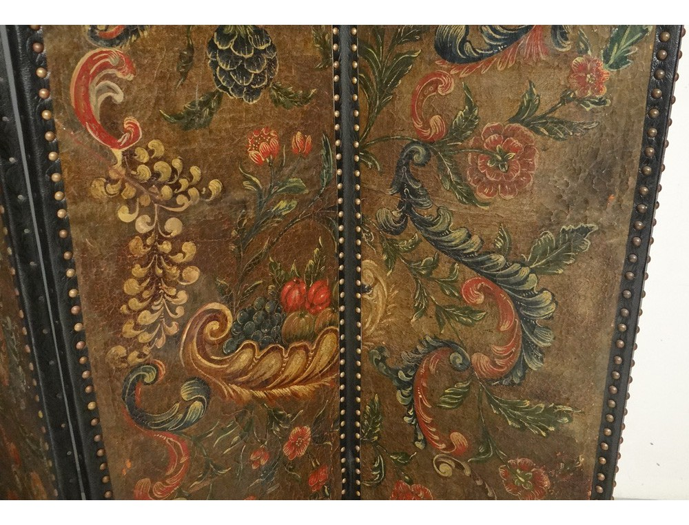 Screen 4 Cordoba Leather Wooden Polychrome Flowers Leaves