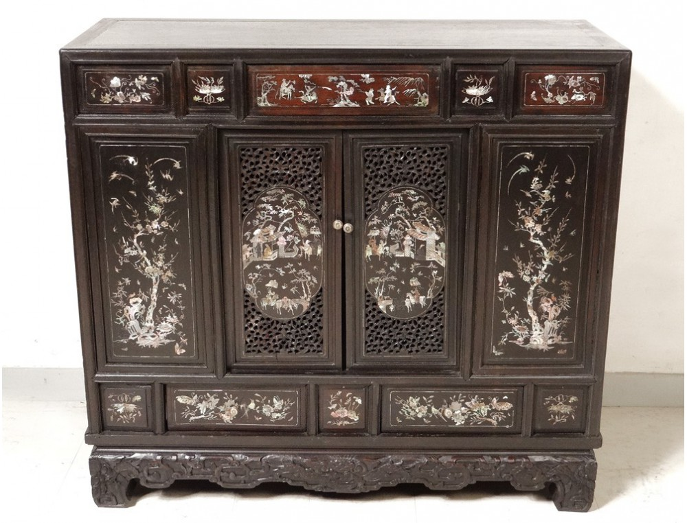 Small Cabinet Furniture Wood Pearl Indochina Vietnam
