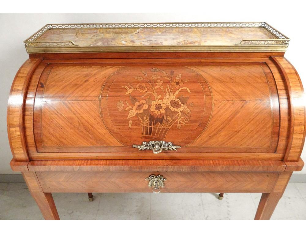 Petit bureau cylindre louis xvi bois rose laiton marbre napoléon iii