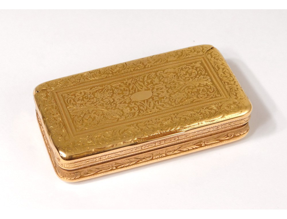 Small Box Snuffbox Solid Gold 18k Gold Flowers 49 06gr