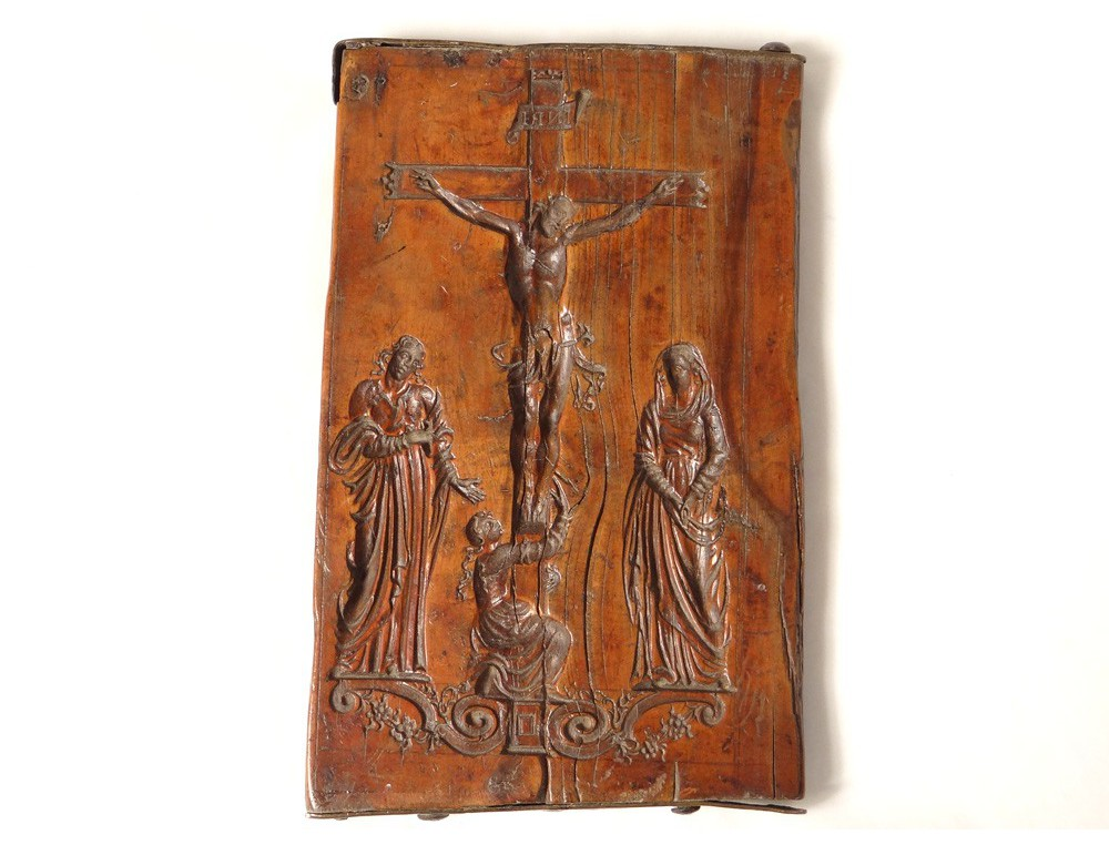 Mold carved wooden gingerbread crucifixion virgin st