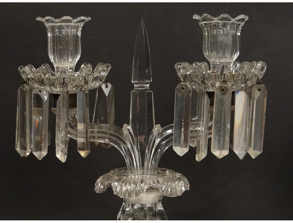 pair candlesticks candelabra 2 lights crystal baccarat chandelier medallion twentieth. Black Bedroom Furniture Sets. Home Design Ideas