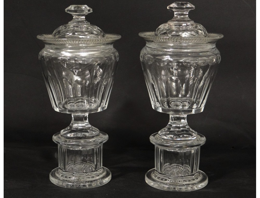 pair of large bezels cut crystal baccarat saint louis xix. Black Bedroom Furniture Sets. Home Design Ideas