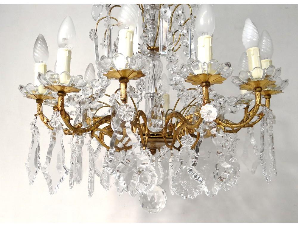 12 Lights Chandelier Pendants Gilded Bronze Cut Crystal