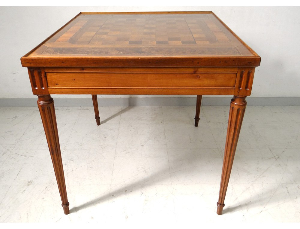 Louis xvi table game backgammon wooden marquetry rosewood