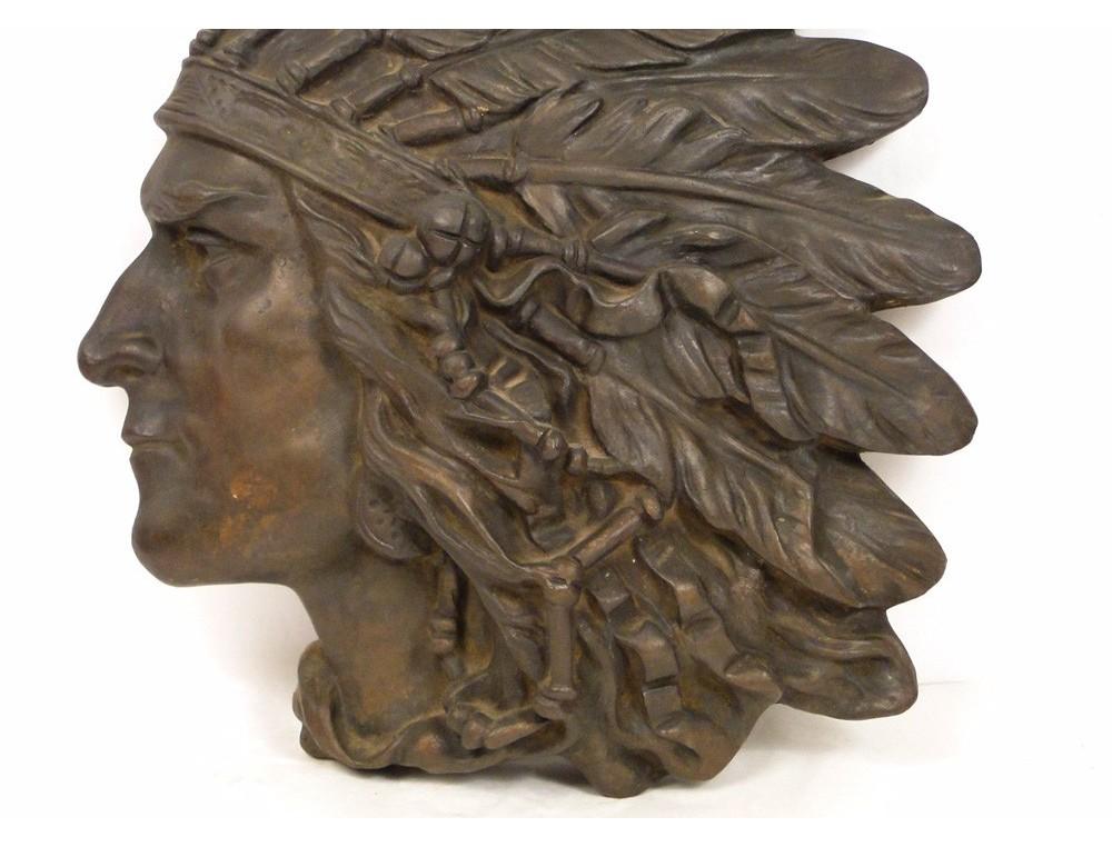 Sculpture In Bronze Bas Relief Portrait Of American Indian