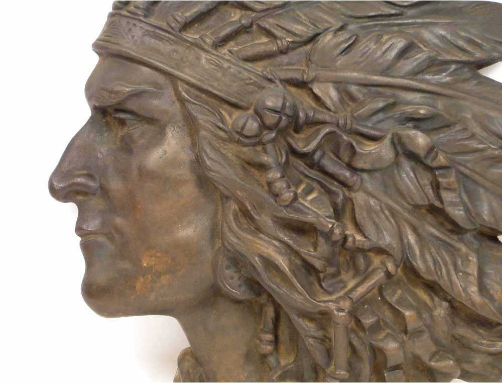 Sculpture In Bronze Bas Relief Portrait Of American Indian