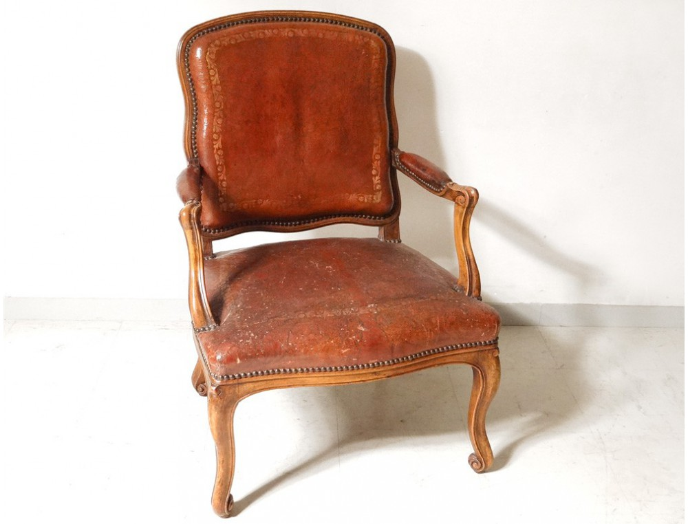 Louis XV armchair to the Queen carved gilt leather ...
