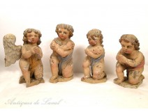 Four putti sculpture statues carved wooden angels, 18th