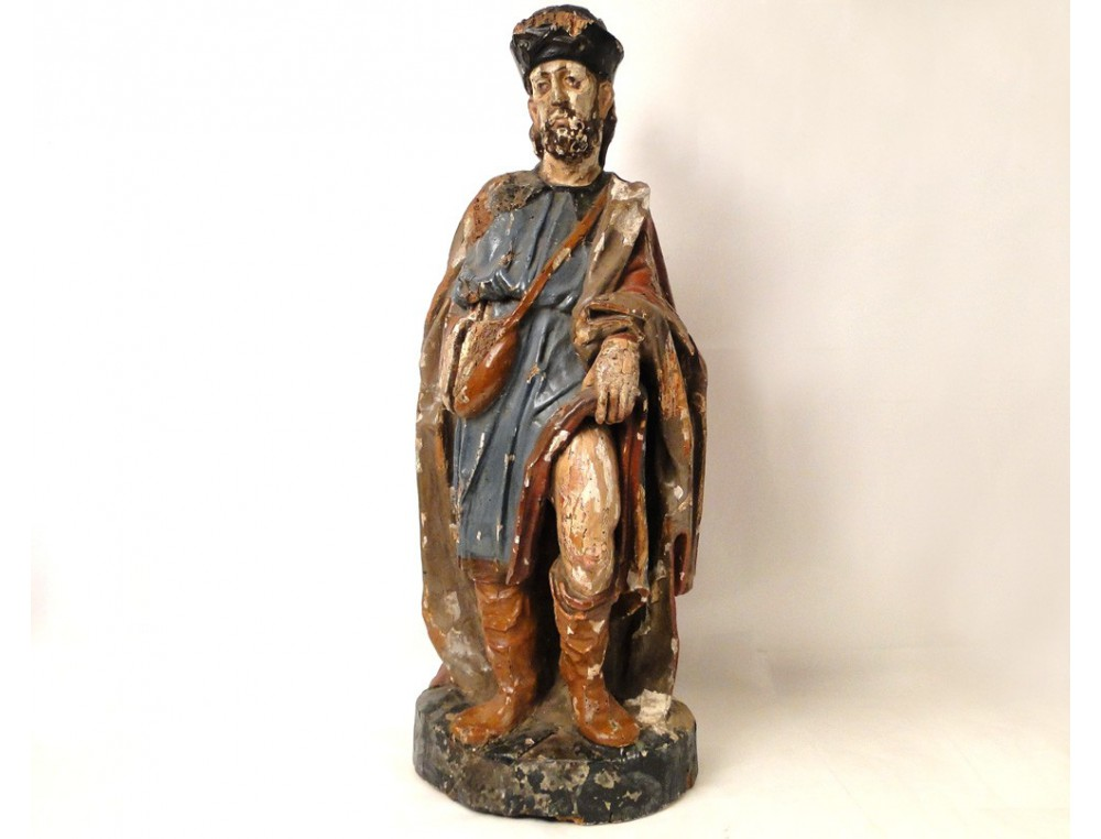 Statue Sculpture In Polychrome Wood Pilgrim St Roch 17th
